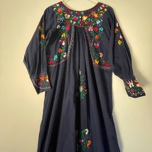 Embroidered Mexican Traditional Maxi Dress Navy